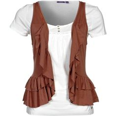 Mexx TShirt ($34) ❤ liked on Polyvore featuring tops, t-shirts, shirts, blusas, brown, women's tops, mexx, brown tops, t shirt and tee-shirt