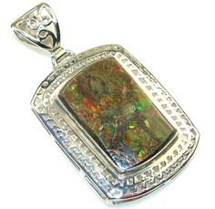 $79.50 Natural! Green Ammolite Sterling Silver Pendant at www.SilverRushStyle.com #pendant #handmade #jewelry #silver #ammolite