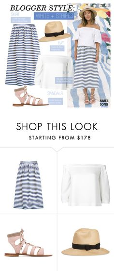 """Blogger Style- White + Stripes"" by kusja on Polyvore"