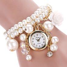 Nova Marca Pulseira de Relógio Das Senhoras Das Mulheres Da Moda Relógio De Quartzo-relógio Feminino Flor de Imitação de Pérolas Cadeia De Relógios De Pulso de Quartzo(China (Mainland))