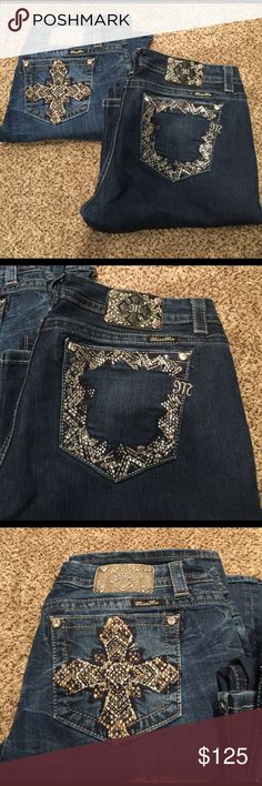 2 Miss Me 33x33 and 34x33 2 Miss Me 33x33 and 34x33. Purchased right after son was born maybe worn a hand full of times mint condition!   Price Firm Miss Me Jeans Boot Cut