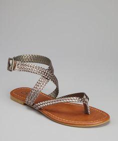 Pewter Wrap Sandal
