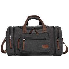 Canvas Duffel Bag Side Pockets Unisex Canvas Large Holdall Travel Shoulder Strap #CanvasDuffelBag