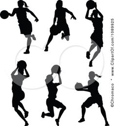 For Silhouette Project: Clipart Black And White Female Basketball Player Silhouettes - Royalty Free Vector Illustration by Chromaco