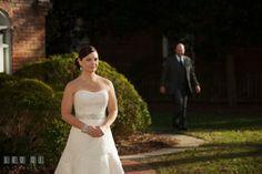 Groom walking toward Bride for first look. The Tidewater Inn wedding, Easton, Eastern Shore, Maryland, by wedding photographers of Leo Dj Photography. http://leodjphoto.com
