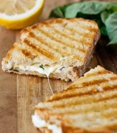 MADE---Lemon-Basil Grilled Cheese Panini .the most fresh-tasting grilled cheese sandwiches you're going to find Think Food, I Love Food, Good Food, Yummy Food, Cookbook Recipes, Cooking Recipes, Cuban Recipes, Desert Recipes, Lunch Recipes