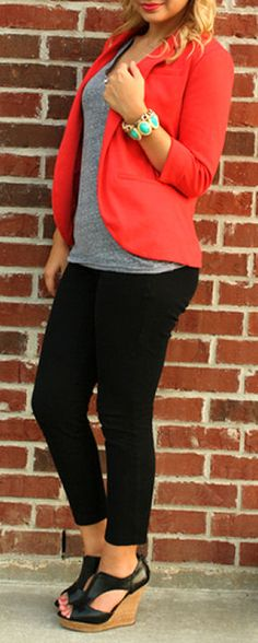 Comfy Cute Casual Look <3 Love the Coral Blazer!
