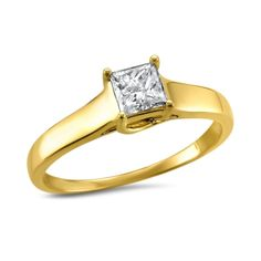 Montebello Jewelry 14k Gold 1/2ct TDW Princess-cut Solitaire Engagement Ring