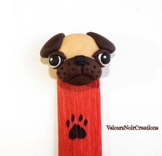 Pug bookmarks polymer clay , by Velours Noir Crèations, 10,00 € su misshobby.com