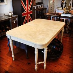 Not an easy task to photograph a table with a French Lime Paint finish! You gotta come see this texture for yourself! It looks like an old Tuscan wall... quite beautiful! and check out those legs!  We are open until 6 today! #vintagetable #frenchlimepaint #texture #reimagine #vintage #furniture #maisonblanchepaint #lachaux #monecru #devonpa #vintageshop #eastcotelane