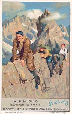 Vintage Alpine Climbing Trading Card © Vintage Winter This poster was originally a collectible trading card by Liebig. Liebig was founded in 1865 and started p Photo Vintage, Vintage Ski, Vintage Winter, Vintage Humor, Funny Vintage, Retro Poster, Poster Vintage, Vintage Travel Posters, Poster On