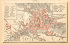 1897 City Map of Sopron Hungary by CabinetOfTreasures on Etsy