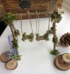 Garden Fairy Swing Handcrafted by Olive* ~ Terrarium Accessories, Fairy Swing, Miniature Garden,Forsythia  Faerie Swing, Faeries, Fae by OliveNatureFolklore on Etsy https://www.etsy.com/listing/498352354/garden-fairy-swing-handcrafted-by-olive