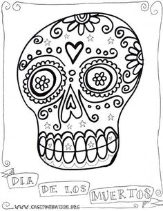 dia de los muertos sugar skull coloring pages for kids by karen*me-shell, via Flickr