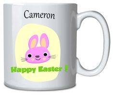 Personalised Mug Easter Bunny Pink Happy Easter, Easter Bunny, Sublimation Mugs, Personalized Mugs, Everyday Objects, Vibrant Colors, Presents, Pink, How To Make