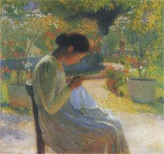 Sewing in the Garden at Marquayrol 1 by Henri Martin