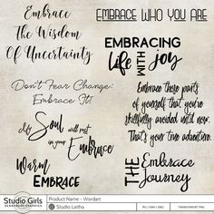 Embrace - Wordart by Laitha. perfect for digital mixed media art and art journaling, digital scrapbooking and other projects.