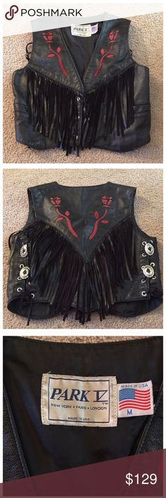 Vintage Leather Fringe Motorcycle Vest! Just scored this vest yesterday and I am so in love!!! Bought it from the original owner and paid way more than I should have but it's so worth it. Very good quality leather...you could tell by the leathers this woman was wearing that she only buys the boldest & best. She bought it for close to $300 in the mid 90's. Marked a size M but can go from a S-M. Sides are adjustable. I'd say size 4-8. Swoon!!! Vintage Tops