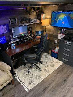 Home Studio Setup, Home Office Setup, Home Office Design, House Design, Bedroom Setup, Room Ideas Bedroom, Gaming Room Setup, Desk Setup, Game Room Design