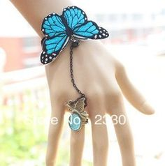 Min.order is $8 (mix order)Antique The butterfly Gothic wind bud silk bracelet ring finger chain integrated .Free Shipping! $7.18