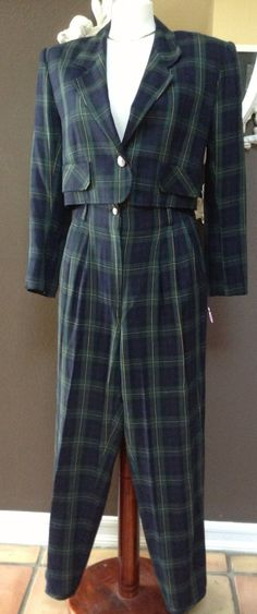 Vintage 80s plaid pant suit by Allen B Schwartz Neiman Marcus high waisted tapered leg size medium crop jacket high waist pants by Anabecca on Etsy