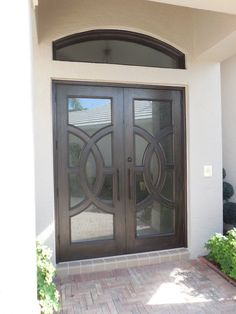 Dark stain front doors. Custom double front doors with circle ...