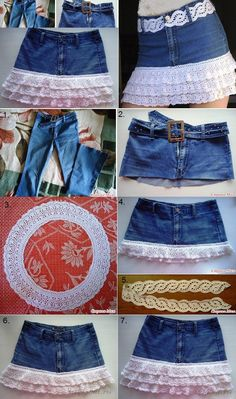 jean skirt M Wonderful DIY Stylish Denim Skirt From Old Jeans Jeans Refashion, Diy Jeans, Diy Clothes Refashion, Recycle Jeans, Sewing Jeans, Skirt Sewing, Sewing Clothes, Baggy Pants, Diy Kleidung