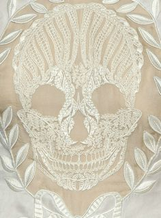 Lace Skull - beautiful and delicate in white embroidery and sheer panels
