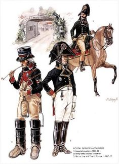 POSTAL SERVICE & COURIERS 1_Imperial courier 1804-06 2_Army GHQ courier 1806-07 3_Ordery Imperial general de brigade Service 1810-13