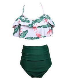 40c66e0787e7b Coeur de Vague Green   White Leaf Halter Bikini Top   High-Waist Bikini  Bottoms