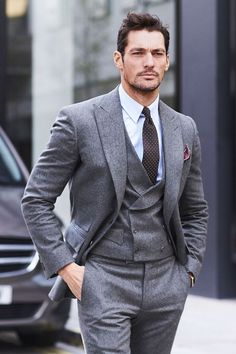 David Gandy in a grey three-piece suit Mens Fashion Suits, Mens Suits, Mens Tailored Suits, Grey Suits, Men's Fashion, David Gandy Style, David Gandy Suit, Mode Bcbg, Style Costume Homme