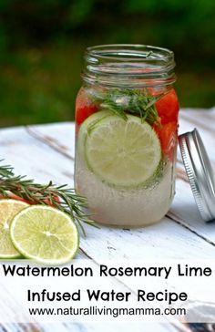 Watermelon Rosemary Lime Infused Water and health benefits of Watermellon! This is delicious and perfect to enjoy all summer long! YUM.