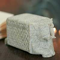 Soapstone box, 'White Elephant Treasure,' is a rare latticework box by Gulam Rasool of India.