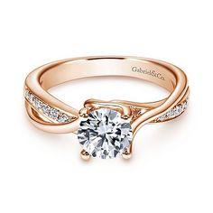 Aleesa 14k Rose Gold Round Twisted Engagement Ring