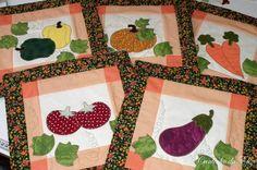 Panô confeccionado em tecidos 100% algodão com apliques de legumes e verduras, cores a gosto do cliente. Vários modelos. * VALOR INDIVIDUAL* tAM. 30X30 R$ 44,80