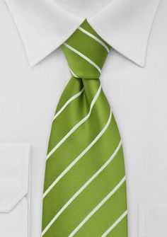 Item-Num.:  CS0612  Mens Striped Tie in Grass Green      A bright grass-green necktie with narrow white striped design. The white stripes are woven into the fabric and add a nice textured look and thicker feel to the tie. It is the perfect tie for the spring season - especially when combined with a fine pin-striped suit in light gray.