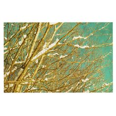 KESS InHouse Iris Lehnhardt 'Snow Covered Twigs' Teal Brown Dog Place Mat, 13' x 18' ** Find out more details by clicking the image