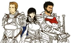 King, Queen, and Champion. working progress *sigh* I wish they could be actual team in the game. I made Alistair's king armor from Heroes of Dragon Age, while I designed Adrian's queen battledress...