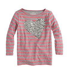 Girls' long-sleeve crystal heart tee in stripe