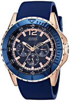 Caja de acero inoxidable de la conjetura U0485G1 46 mm color azul Mineral de goma reloj de los hombres