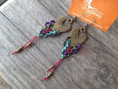 Macramé boho earrings  Multicolor  boho par creationsmariposa, $27.00