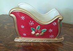FITZ & FLOYD FESTIVE BELLS SLEIGH VASE CHRISTMAS CANDY DISH RED GOLD CERAMIC FTD