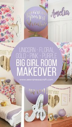 Floral Big Girl Room Makeover with Gold, Unicorn, Purple and Pink Accents – soooo cute and perfect for a little girl! - DIY: Pink and Purple Floral Big Girl Room Makeover - See Vanessa Craft Big Girl Bedrooms, Purple Bedrooms, Little Girl Rooms, Girls Bedroom, Purple Bedroom Decor, Bedroom Ideas, Cute Teen Rooms, Modern Girls Rooms, Kids Rooms
