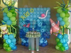 Spongebob Balloon Decorations, Birthday Party Decorations, Party Themes, Party Ideas, Balloon Wall, Balloons, Balloon Pillars, Spongebob Birthday Party, Super Party
