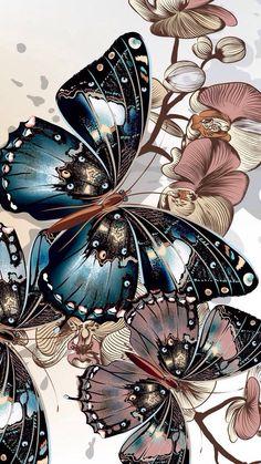 Best Wallpaper Iphone Cute Vintage We Heart It Phone Wallpapers Ideas Butterfly Wallpaper Iphone, Wallpaper Iphone Cute, Colorful Wallpaper, Cellphone Wallpaper, Cute Wallpapers, Wallpaper Backgrounds, Screen Wallpaper, Butterfly Drawing, Butterfly Painting
