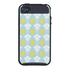 Lime & Blue Damask iPhone Case