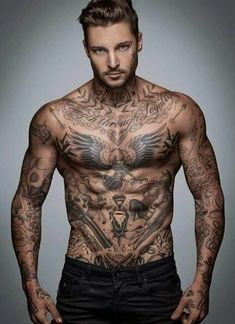 Men Chest with Eagle Tattoos, Eagle Men Chest Tattoo Design, Designs of Men…