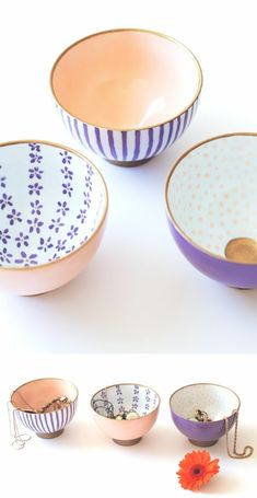 diy gifts for friends, three rice bowls, painted in light pastel pink and violet, inside and out, one with violet and white stripes, another image shows jewelry placed in the bowls