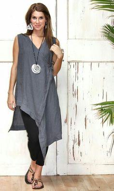 lagenlook w/ side tie Mode Style, Style Me, Look Fashion, Womens Fashion, Fashion Design, Gothic Fashion, Street Mode, Street Style, Natural Fiber Clothing