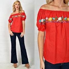 Vintage 70s Red Mexican Top Blouse Hippie Vivid by thekissingtree